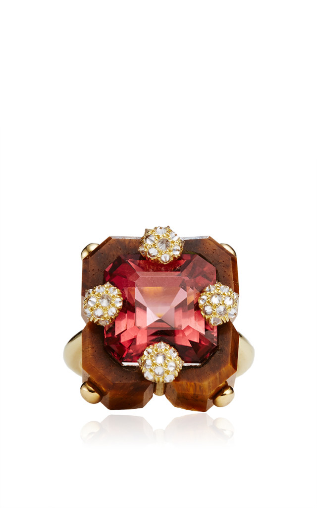 Carved-Tigers-Eye-Pink-Tourmaline-And-Diamond-Square-Duo-Ring