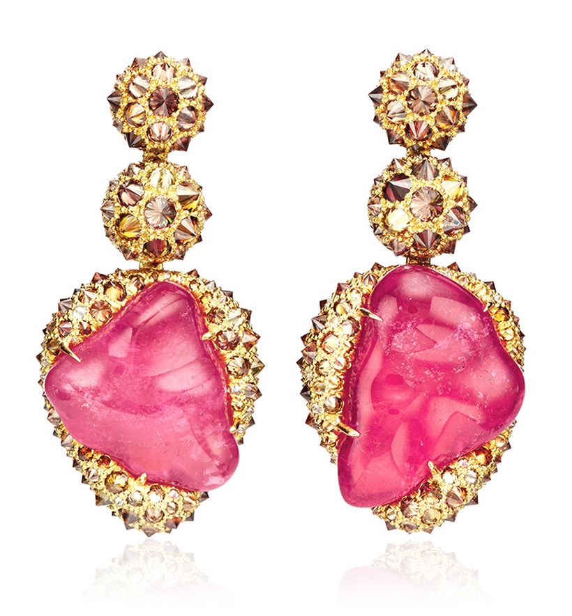 Pink-Tourmaline-Cognac-Diamond-Gold-Ear-Pendants