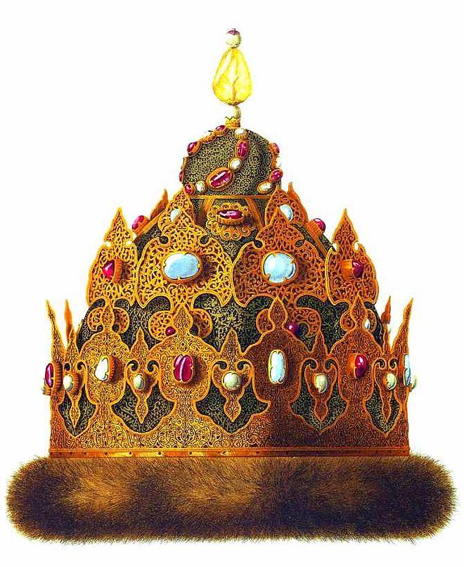 Czapka Kazańska wysadzana rubinami, granatami, turkusai iperłami, pochodząca zczasów panowania Iwana Groźnego