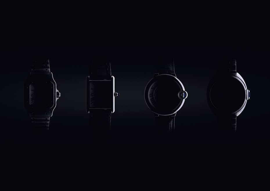 Ewolucja zegarków Cartier. Odlewej - Santos, Tank, Ballon Bleu, Cle
