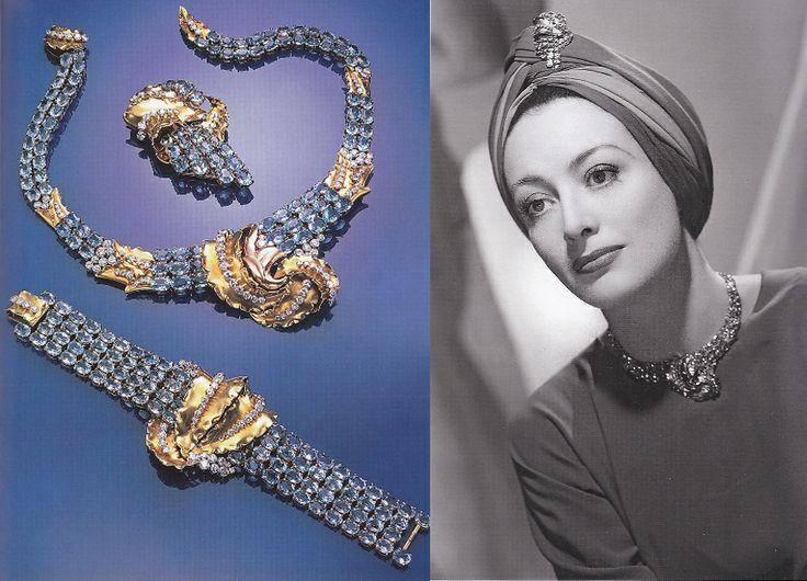 10 Joan Crawford ijej akwamarynowo - diamentowy zestaw bizuterii