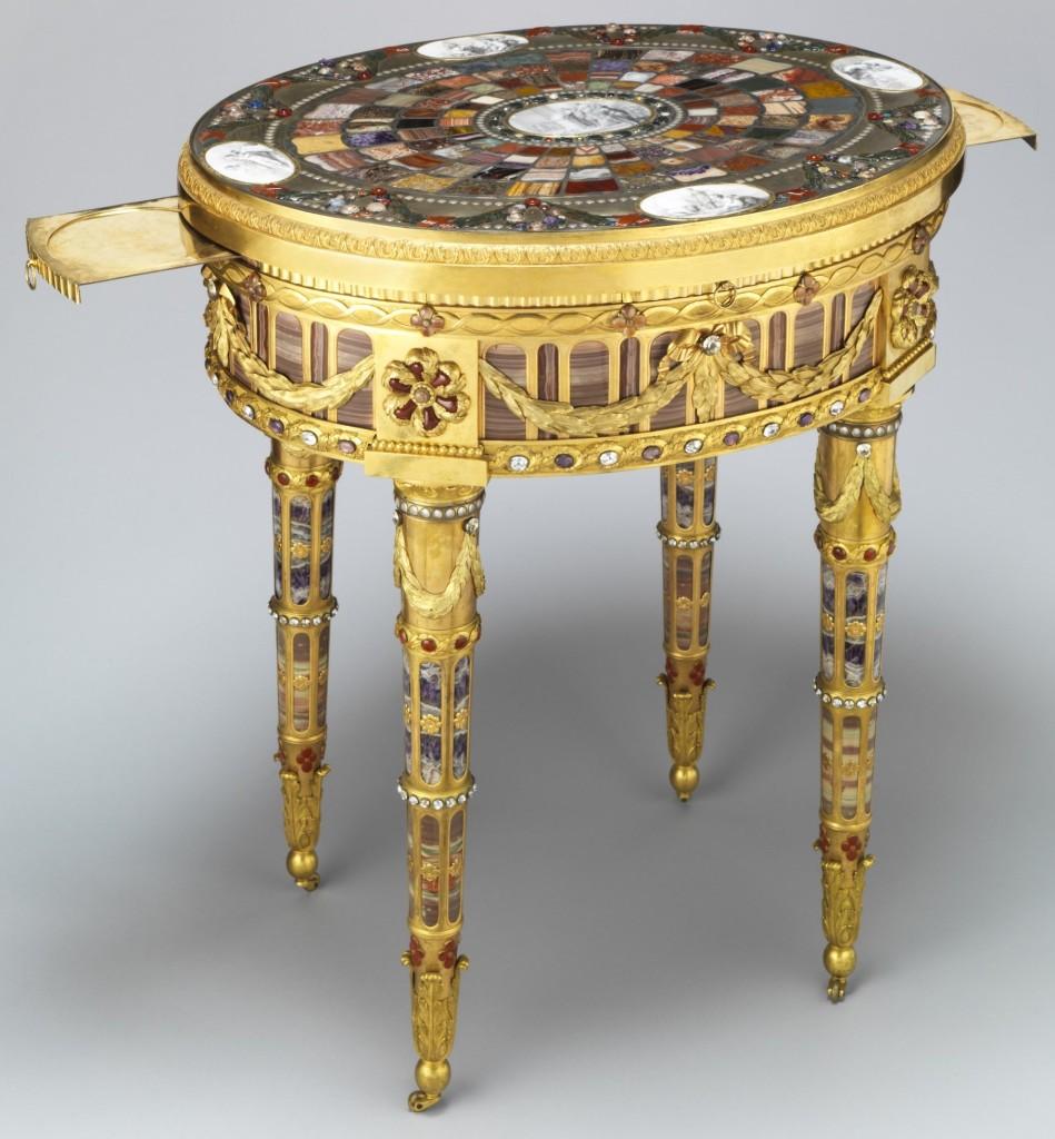 Taschen Table, wykonany w1779 przez jubilera izłotnika Johanna-Christiana Neubera dla króla Saksonii
