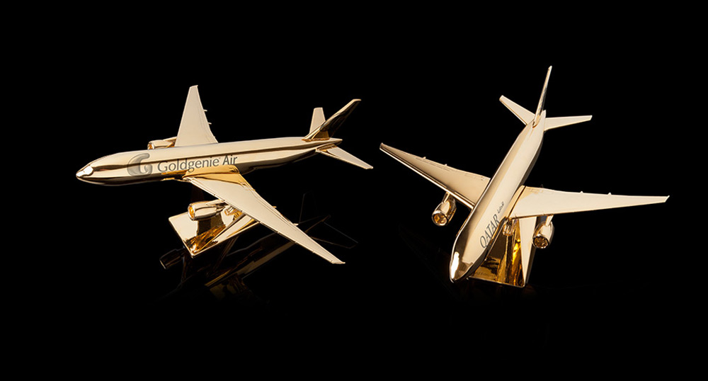 Goldgenie's creates gold plated model airplanes to woo collectors