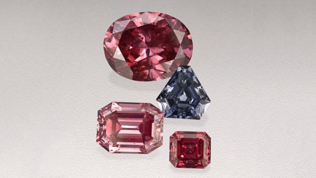 Odcienie różowych diamentów zkopalni Argyle
