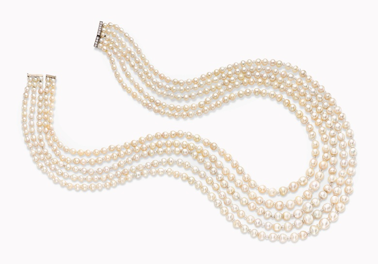 a-five-strand-natural-pearl-and-diamond-necklace