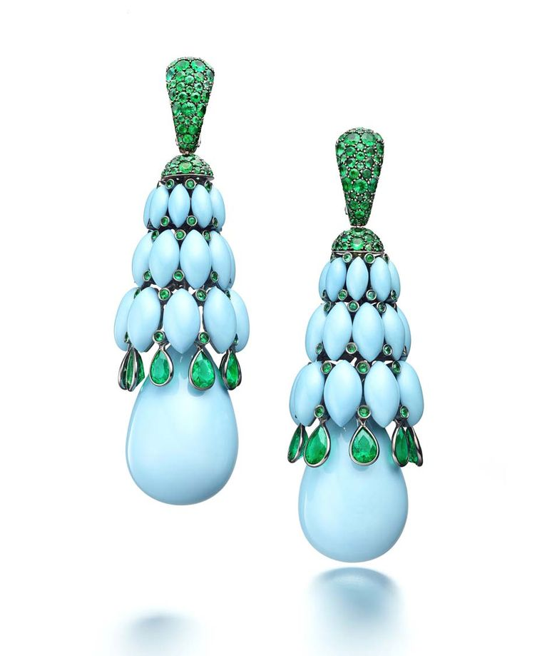 Turquoise_De Grisogono_Melody of Colours Earrings in white gold with turquoise and emeralds.jpg__760x0_q80_crop-scale_subsampling-2_upscale-false