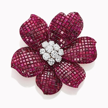 a-mystery-set-ruby-and-diamond-flower-brooch-by-van-cleef-and-arpels